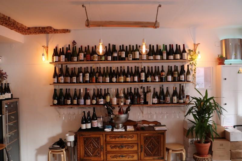 Natural wine selection at Portuguese wine bar